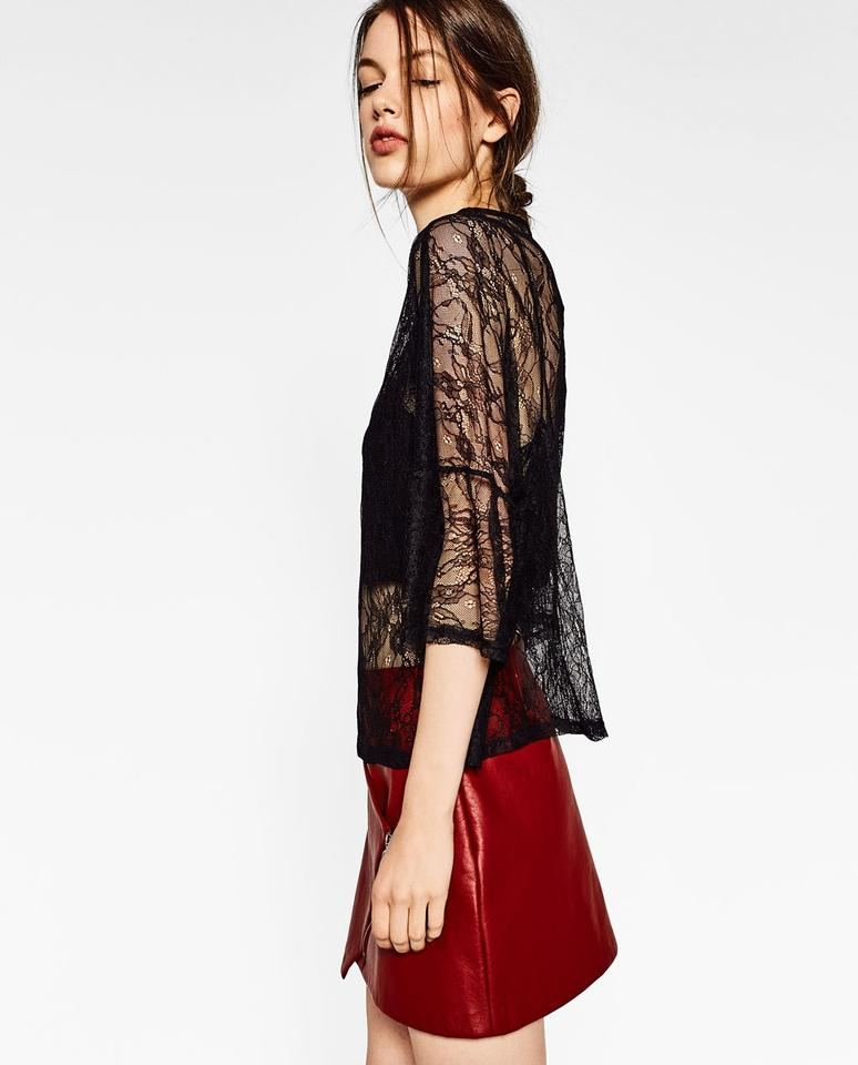 9c7fe0b6c7dcb8 Zara Black Flounce Sleeve Loose Fit Sheer Floral Lace Unlined Blouse ...