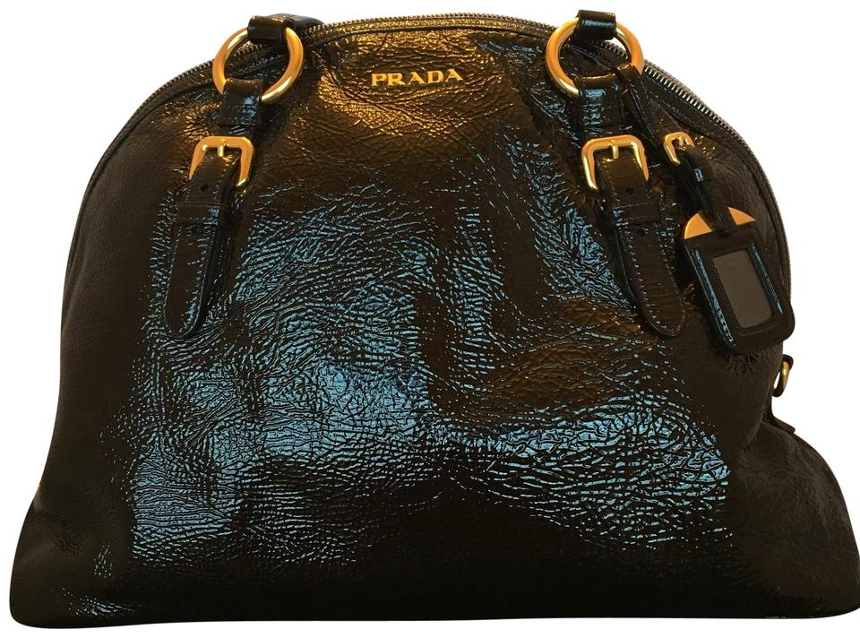 Leather Bag Shiny Bowling Shoulder Prada Black xtf5UXwnq
