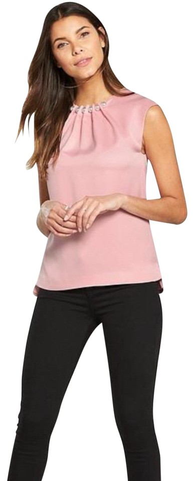 d862a36c2b22c Ted Baker Dusky Pink Camble Folded Pearl Neck Sleeveless Blouse Size ...