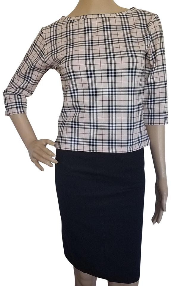 16f68672bb685a Burberry Beige Brown Multicolor London Nova Check Stretch Blouse. Size  8  ...