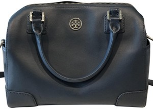 Tory Burch Leather Monogram Satchel in Navy