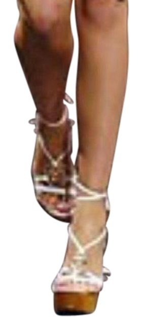 Item - White Leather ~runway~ Wooden Medusa Wedge Boots/Booties Size EU 39 (Approx. US 9) Regular (M, B)