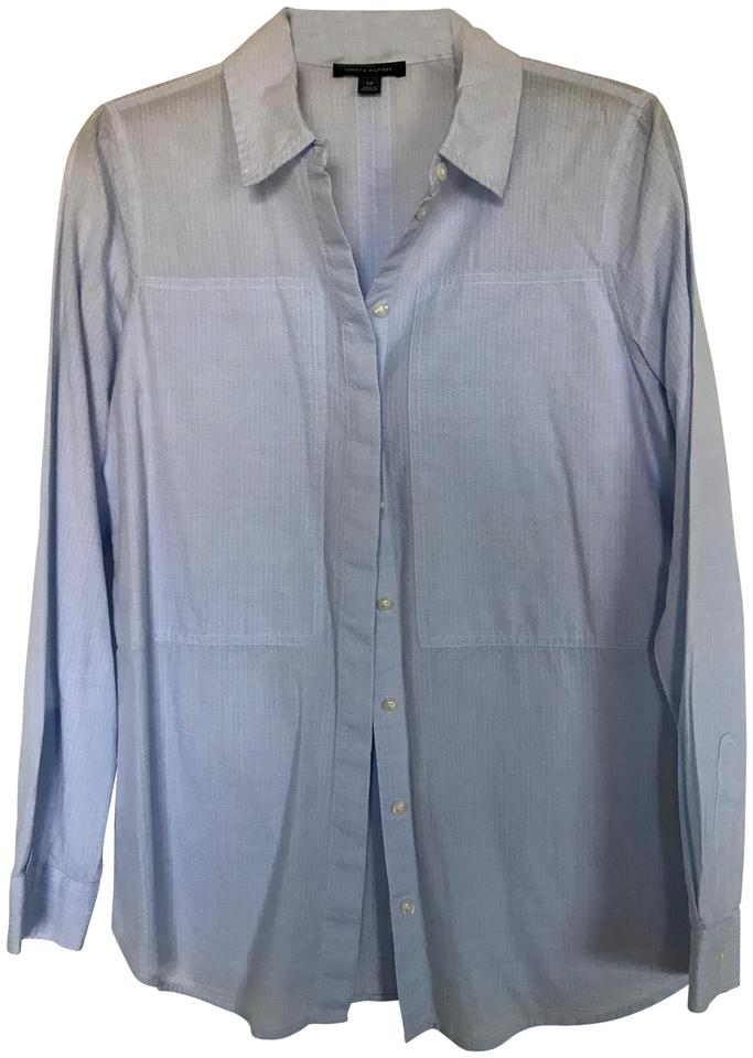 4ebbf338bc Tommy Hilfiger Light Blue Women's Long Sleeve Button Up Blouse Shirt ...