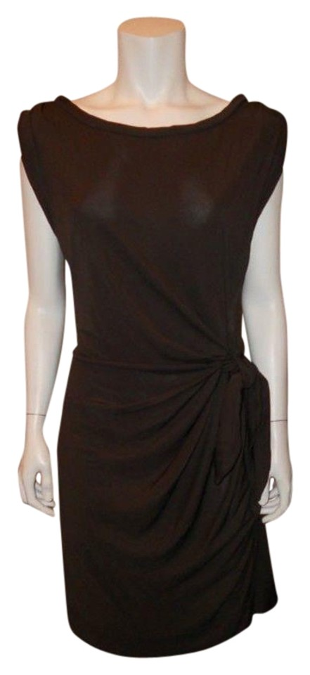 f84169f8ca784 Diane von Furstenberg Chocolate Brown Dvf Della Jersey Tie Boatneck Work/Office  Dress