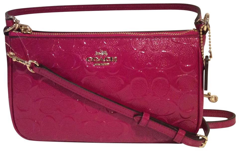 3e8ca10929 Coach Signature Debossed Top Handle Cranberry Patent Leather Cross Body Bag