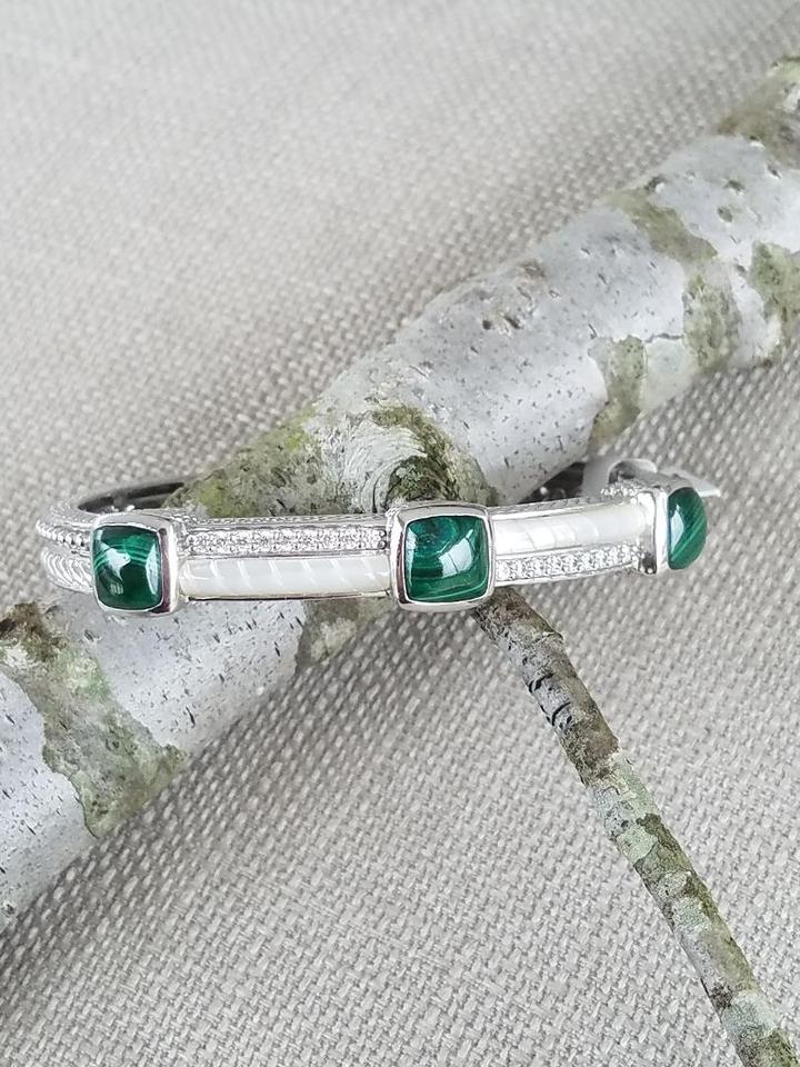 2896766b3da judith ripka green sterling silver malachite and mother of pearl hinged  cuff bracelet 23062294 4 0
