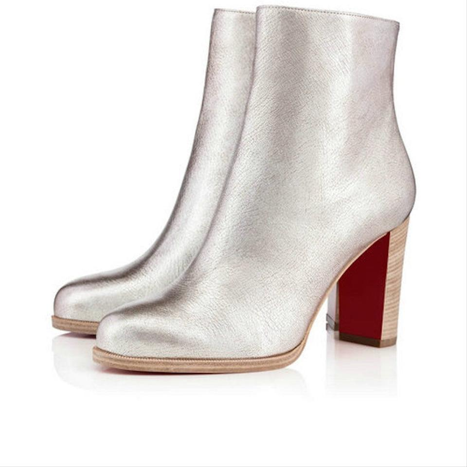 size 40 73245 08233 Christian Louboutin Silver Adox 85 Metallic Leather Short Heel Ankle Zip  Block Boots/Booties Size EU 41 (Approx. US 11) Regular (M, B)