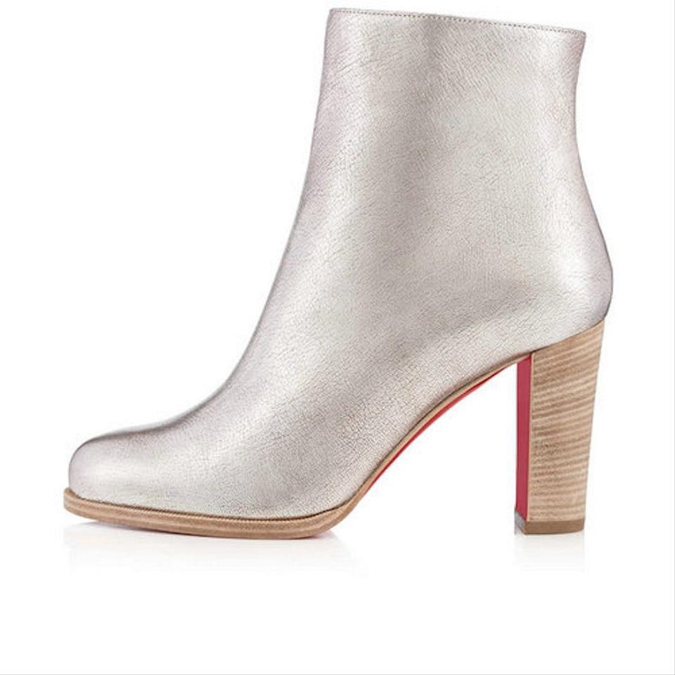 size 40 e1698 b29eb Christian Louboutin Silver Adox 85 Metallic Leather Short Heel Ankle Zip  Block Boots/Booties Size EU 41 (Approx. US 11) Regular (M, B)