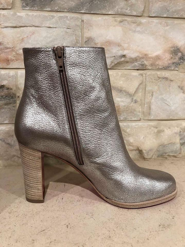 size 40 9e70f 70e1c Christian Louboutin Silver Adox 85 Metallic Leather Short Heel Ankle Zip  Block Boots/Booties Size EU 41 (Approx. US 11) Regular (M, B)