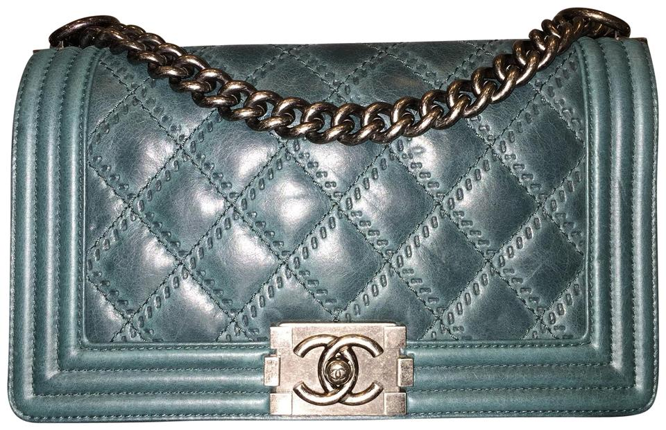 75377d9be8da73 Chanel Boy Medium Quilted Flap Double Stitch Teal Green Calfskin Leather  Cross Body Bag