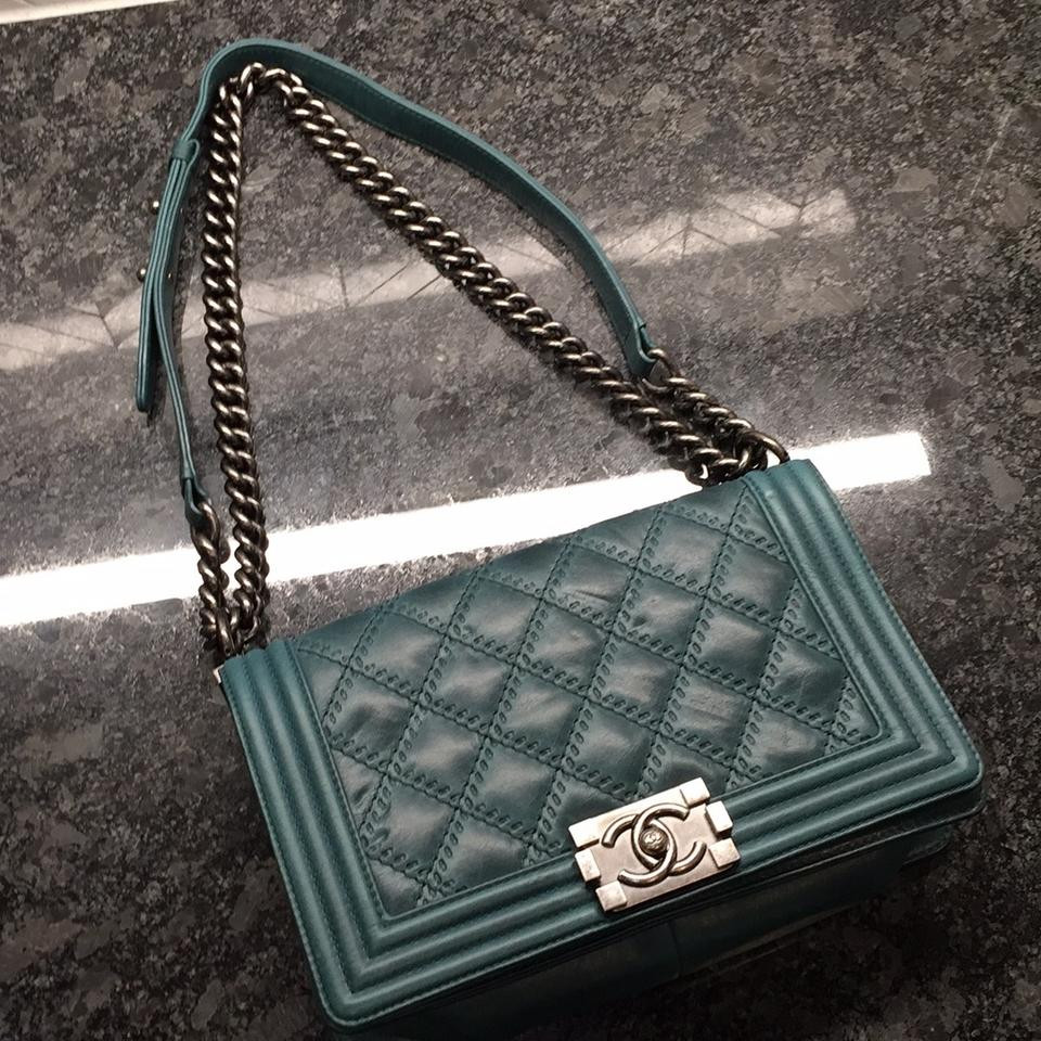 15f281702e56ce Chanel Boy Medium Quilted Flap Double Stitch Teal Green Calfskin ...
