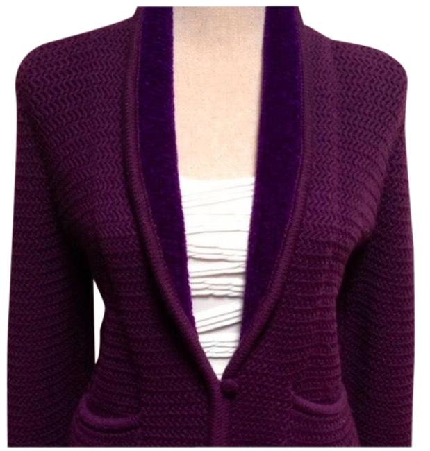 Item - Plum/Purple Ysl Tricot Cardigan Size 8 (M)