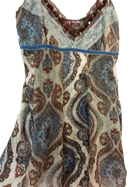 Dolled Up by Fang Summer Breezy Silky Flowy Spaghetti Strap Top Brown/Blue