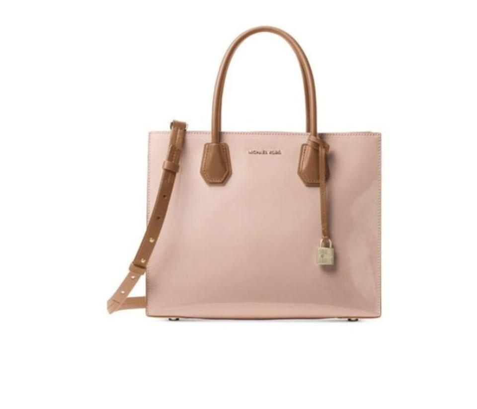 be4fb59e5a64 Michael Kors Mercer Large Convertible Shoulder Satchel Ballet Pink Patent  Leather Tote
