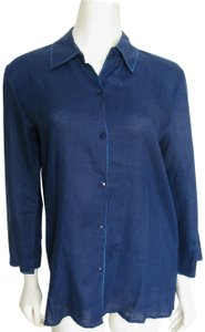 Dana Buchman Linen Buttoned Shirt M 8 Blouse 3/4 Sleeve Navy Indigo New Blouse Button Down Shirt blue