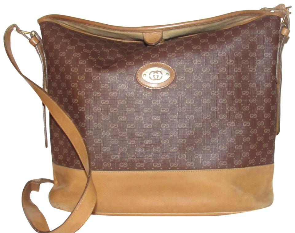 Gucci Vintage Purses Designer Purses Camel Small G Logo Print On Brown  Coated Canvas   Canvas Leather and Satchel 1bb5fb320308b