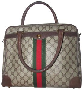 Gucci Boston Xl Dr.'s Accessory Col Excellent Vintage Two-way Style Satchel in brown large G logo print coated canvas and brown leather with a red & green stripe