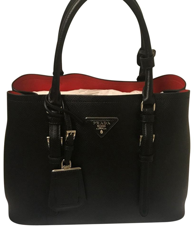e4509ed00052 Prada Double Cuir Covered-strap Small Black Red Black   Red Saffiano  Leather Satchel