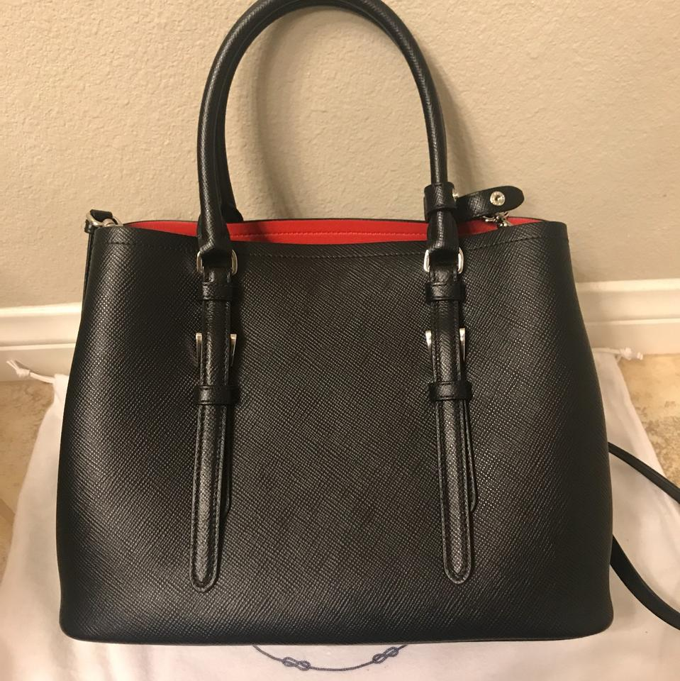 140fd35bd00d Prada Double Cuir Covered-strap Small Black Red Black   Red Saffiano ...