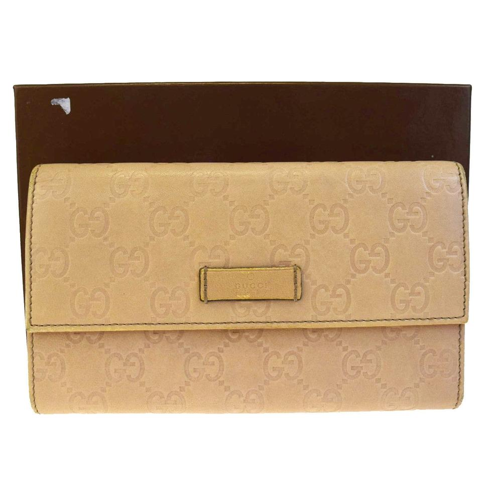 e310f854563 Gucci GUCCI GG Pattern Long Trifold Wallet Purse Leather Green Italy Image  0 ...
