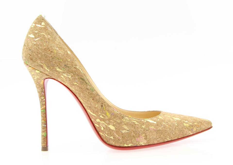Christian 100 Louboutin Beige Decoltish 100 Christian Liege Lame Pumps 4fda2f