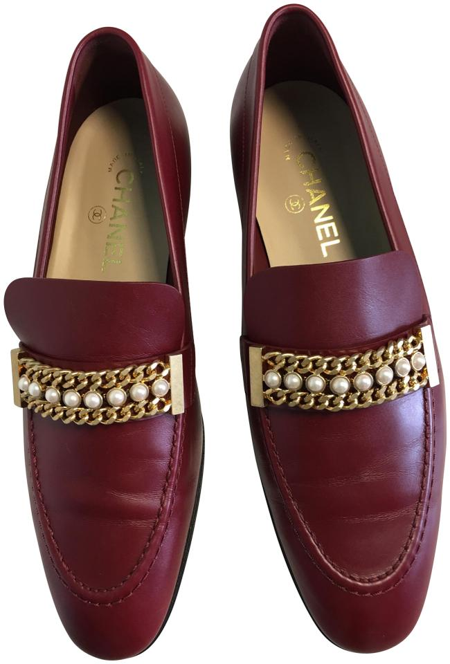 7984148b271d Chanel Pearl Chain Classic Loafer Moccasin Burgundy Red Flats Image 0 ...