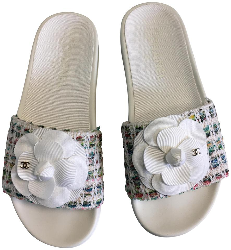 Chanel White Classic Petal Poem Cc Camellia Flower Tweed Pool Slide