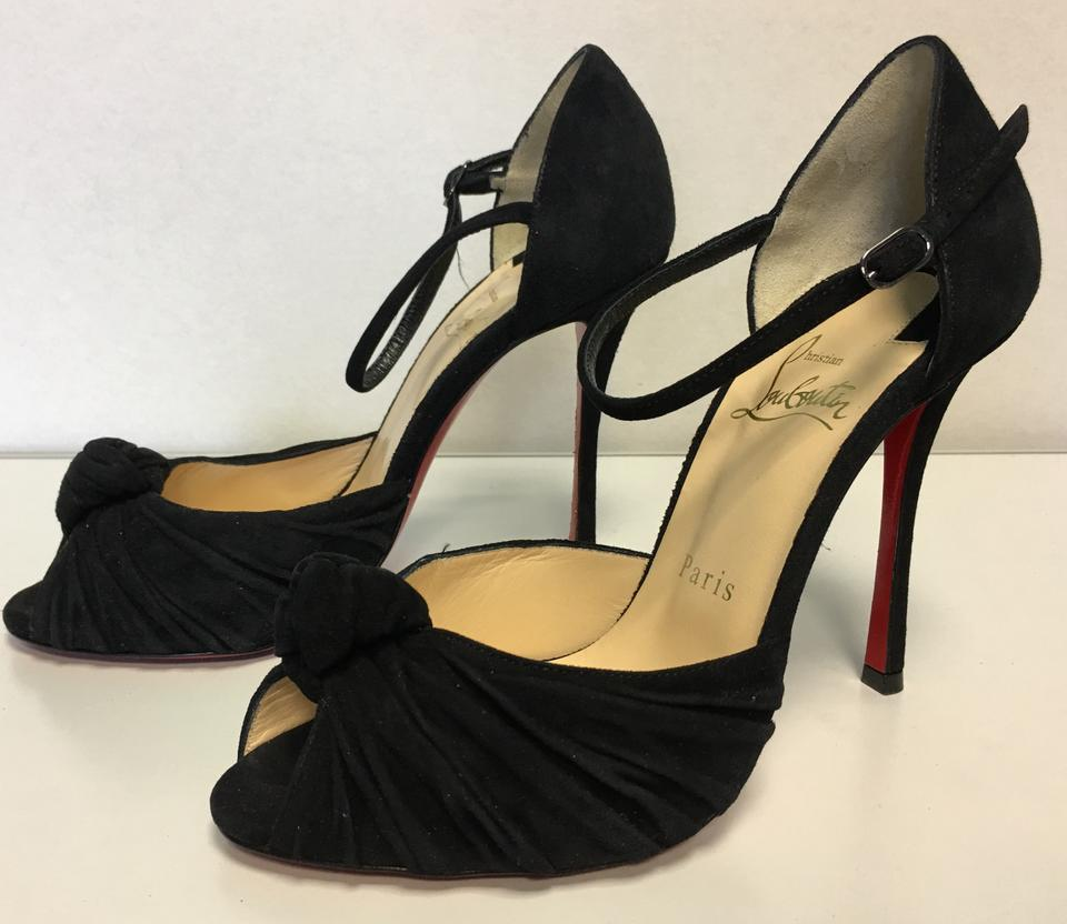 8f1faca9e2f2 Christian Louboutin Black Classic Suede Leather Marchavekel 100mm Open Toe  Heels Twisted Knot Pumps Size EU 37 (Approx. US 7) Regular (M