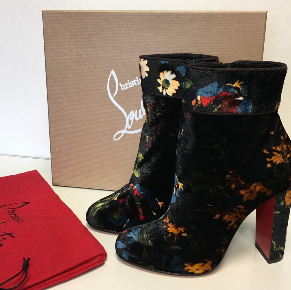 Boots Moulamax Ankle Christian Bouquet Floral Leather Velvet Louboutin Booties 85mm Black Classic OIqvSIf