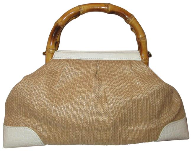 Item - Bamboo Handle Tan & Off White Straw Faux Patent Leather Satchel