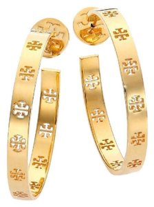 Tory Burch NEW TORY BURCH METALLIC GOLD LOGO HOOPS HOOP EARRINGS NWT TAGS