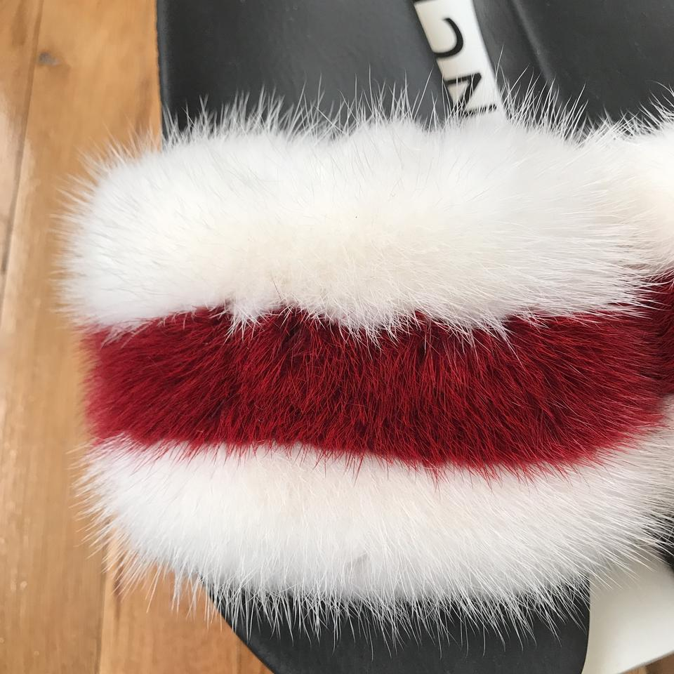 Slides Red Fur White Sandals Givenchy 76Uwnxqn