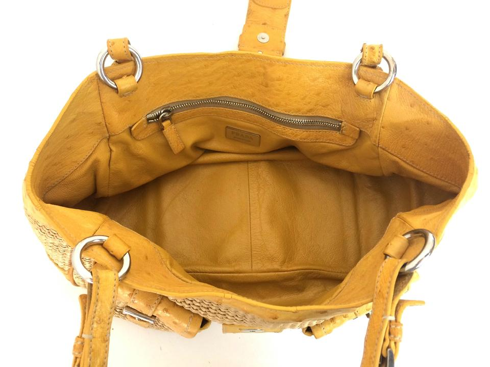 22482785fb0d Prada Shoulder Bag Da Paglia Struzzo In Naturale Soleil Yellow Ostrich  Leather/Raffia Satchel - Tradesy