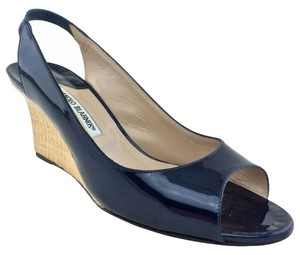 Manolo Blahnik Peep Toe Navy Blue Wedges