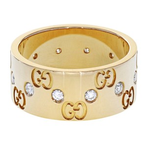 Gucci Icon Women's Wide Rose Gold Diamond Band Ring (18952)
