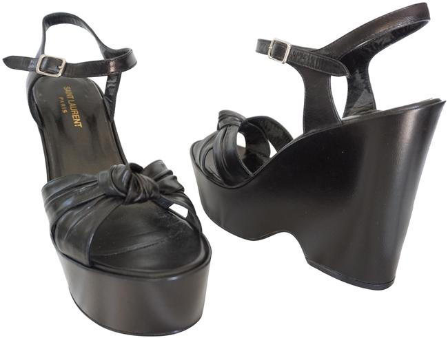 Item - Black Candy Paris Ysl Leather 85 Tied Knot Wedge Sandals Size EU 40 (Approx. US 10) Regular (M, B)