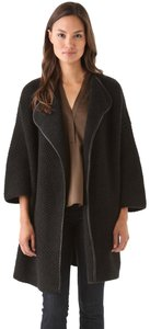 Vince Boxy Yak Wool Leather Open Front Coat
