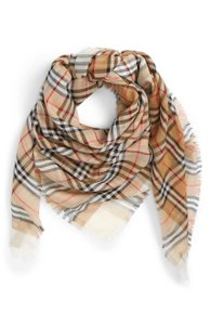 Burberry NEW Burberry Colorblock Vintage Check Cotton Square Scarf White
