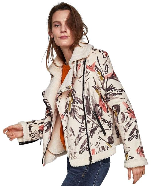 Item - Cream Faux Suede & Faux Shearling Painted Design Jacket Size 8 (M)