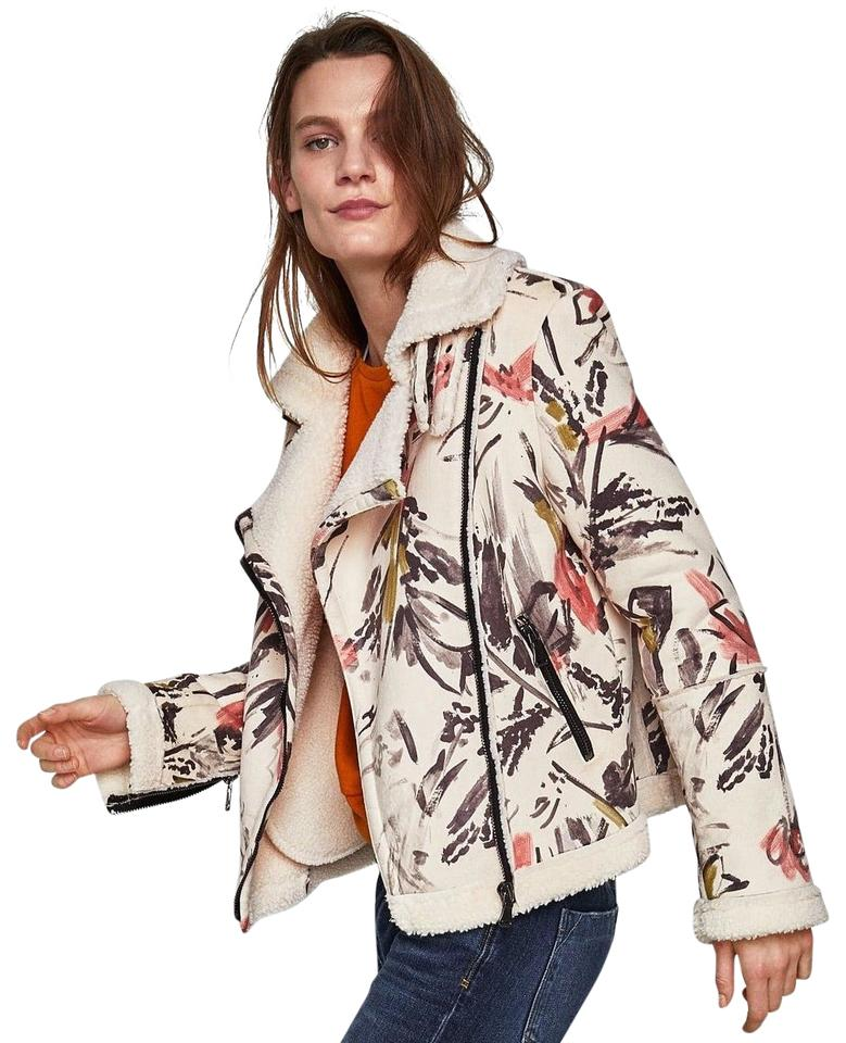 cb306f0a Zara Cream Faux Suede & Faux Shearling Painted Design Jacket Size 8 ...