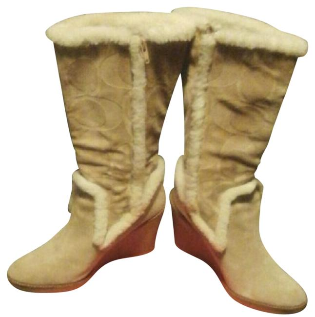 Item - Cream and Tan Wedge Boots/Booties Size US 8.5 Narrow (Aa, N)