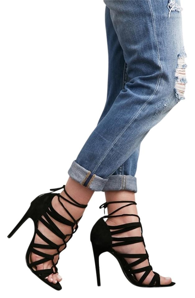 99cbe46112 Forever 21 F21 Lace Up Laced Strappy Heels Sandals Zara Sold Out Faux Suede  Trend Summer