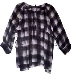 BCBGMAXAZRIA Top Gray Plaid