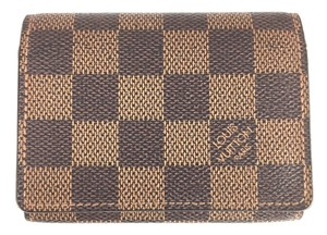 Louis Vuitton damier ebene Flap Credit Business Card Case Pocket Organizer Wallet