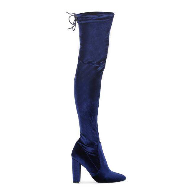 Item - Blue Alllegs Stretch-velvet Over-the-knee Boo Boots/Booties Size US 6 Regular (M, B)