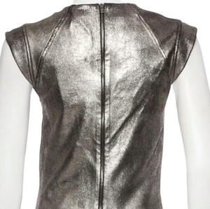 Skaist Taylor Zip Metalic Leather Leather T Shirt Pewter