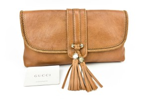Gucci Leather Large Gold Brown Clutch