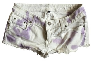 Car Mar Cut Off Shorts White and purple