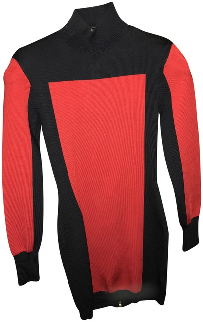 Item - Red & Black Fitted Turtleneck Colorblock Mid-length Night Out Dress Size 4 (S)
