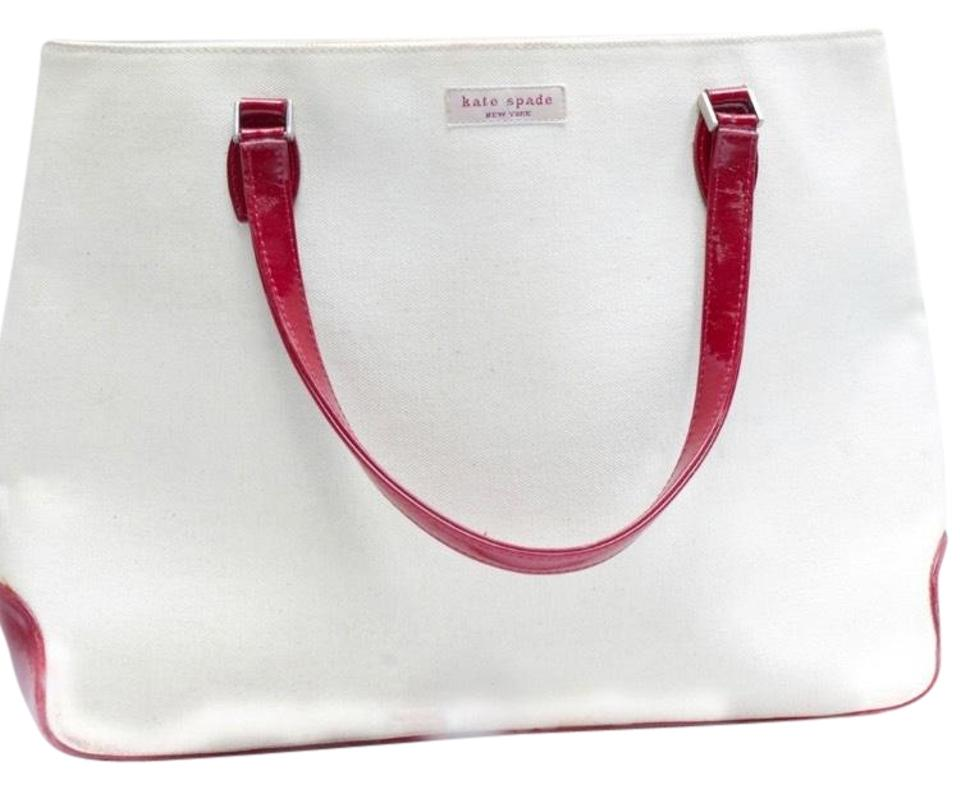 05cb177c858a Kate Spade Leather White Red Canvas Tote - Tradesy